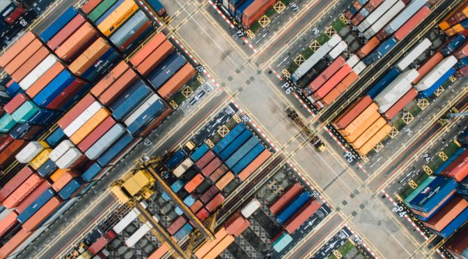 drone view of shipping containers